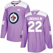 Wholesale Cheap Adidas Jets #22 Par Lindholm Purple Authentic Fights Cancer Stitched NHL Jersey