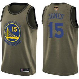 Wholesale Cheap Warriors #15 Damian Jones Green 2019 Finals Bound Basketball Swingman Salute to Service Jersey