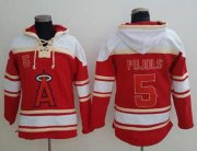 Wholesale Cheap Angels of Anaheim #5 Albert Pujols Red Sawyer Hooded Sweatshirt MLB Hoodie