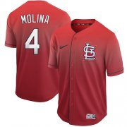 Wholesale Cheap Nike Cardinals #4 Yadier Molina Red Fade Authentic Stitched MLB Jersey