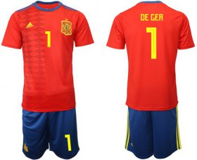 Wholesale Cheap Spain #1 De Gea Home Soccer Country Jersey