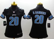 Wholesale Cheap Nike Lions #20 Barry Sanders Black Alternate Women's Stitched NFL Limited Jersey