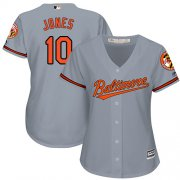 Wholesale Cheap Orioles #10 Adam Jones Grey Road Women's Stitched MLB Jersey