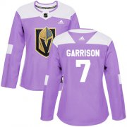 Wholesale Cheap Adidas Golden Knights #7 Jason Garrison Purple Authentic Fights Cancer Women's Stitched NHL Jersey