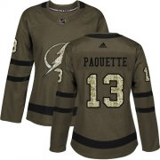 Cheap Adidas Lightning #13 Cedric Paquette Green Salute to Service Women's Stitched NHL Jersey