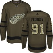 Wholesale Cheap Adidas Red Wings #91 Sergei Fedorov Green Salute to Service Stitched NHL Jersey