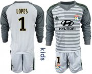 Wholesale Cheap Lyon #1 Lopes Grey Goalkeeper Long Sleeves Kid Soccer Club Jersey