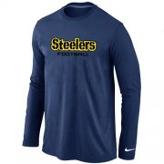 Wholesale Cheap Nike Pittsburgh Steelers Authentic Font Long Sleeve T-Shirt Dark Blue