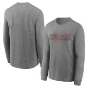 Wholesale Cheap Cleveland Browns Nike Fan Gear Playbook Long Sleeve T-Shirt Heathered Charcoal