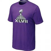 Wholesale Cheap NFL Super Bowl XLVII Logo T-Shirt Purple