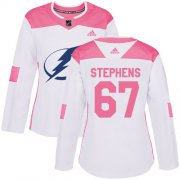 Cheap Adidas Lightning #67 Mitchell Stephens White/Pink Authentic Fashion Women's Stitched NHL Jersey