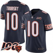 Wholesale Cheap Nike Bears #10 Mitchell Trubisky Navy Blue Team Color Men's Stitched NFL 100th Season Vapor Limited Jersey