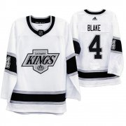 Wholesale Cheap Los Angeles Kings #4 Rob Blake Men's Adidas 2019-20 Heritage White Throwback 90s NHL Jersey