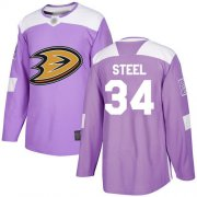 Wholesale Cheap Adidas Ducks #34 Sam Steel Purple Authentic Fights Cancer Youth Stitched NHL Jersey