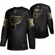 Wholesale Cheap Adidas Blues #90 Ryan O'Reilly Men's 2019 Black Golden Edition Authentic Stitched NHL Jersey