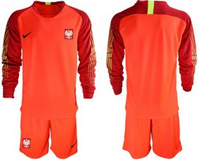 Wholesale Cheap Poland Blank Red Goalkeeper Long Sleeves Soccer Country Jersey