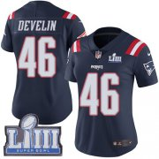 Wholesale Cheap Nike Patriots #46 James Develin Navy Blue Super Bowl LIII Bound Women's Stitched NFL Limited Rush Jersey
