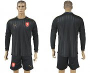 Wholesale Cheap Czech Blank Black Long Sleeves Goalkeeper Soccer Country Jersey