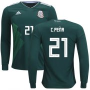 Wholesale Cheap Mexico #21 C.Pena Home Long Sleeves Soccer Country Jersey