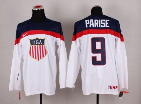 Wholesale Cheap 2014 Olympic Team USA #9 Zach Parise White Stitched NHL Jersey