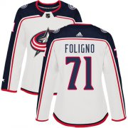 Wholesale Cheap Adidas Blue Jackets #71 Nick Foligno White Road Authentic Women's Stitched NHL Jersey