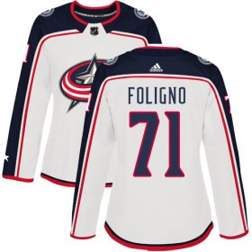 Wholesale Cheap Adidas Blue Jackets #71 Nick Foligno White Road Authentic Women\'s Stitched NHL Jersey