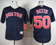 Wholesale Cheap Red Sox #50 Mookie Betts Dark Blue Cool Base Stitched MLB Jersey