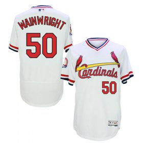 Wholesale Cardinals #50 Adam Wainwright White Flexbase Authentic Collection Cooperstown Stitched Baseball Jersey