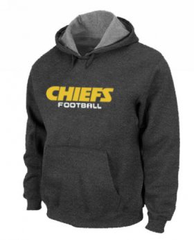 Wholesale Cheap Kansas City Chiefs Authentic Font Pullover Hoodie Dark Grey