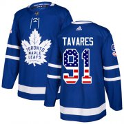 Wholesale Cheap Adidas Maple Leafs #91 John Tavares Blue Home Authentic USA Flag Stitched Youth NHL Jersey