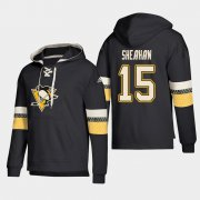 Wholesale Cheap Pittsburgh Penguins #15 Riley Sheahan Black adidas Lace-Up Pullover Hoodie