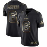 Wholesale Cheap Nike Browns #6 Baker Mayfield Black/Gold Men's Stitched NFL Vapor Untouchable Limited Jersey