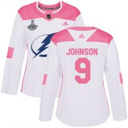 Cheap Adidas Lightning #9 Tyler Johnson White/Pink Authentic Fashion Women's 2020 Stanley Cup Champions Stitched NHL Jersey