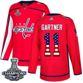 Wholesale Cheap Adidas Capitals #11 Mike Gartner Red Home Authentic USA Flag Stanley Cup Final Champions Stitched NHL Jersey