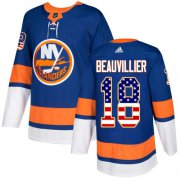 Wholesale Cheap Adidas Islanders #18 Anthony Beauvillier Royal Blue Home Authentic USA Flag Stitched Youth NHL Jersey