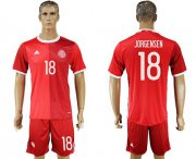 Wholesale Cheap Danmark #18 Jorgensen Red Home Soccer Country Jersey