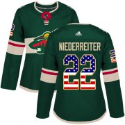 Wholesale Cheap Adidas Wild #22 Nino Niederreiter Green Home Authentic USA Flag Women's Stitched NHL Jersey