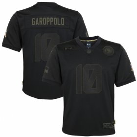 Cheap San Francisco 49ers #10 Jimmy Garoppolo Nike Youth 2020 Salute to Service Game Jersey Black