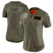 Wholesale Cheap Nike Raiders #4 Derek Carr Camo Women's Stitched NFL Limited 2019 Salute to Service Jersey