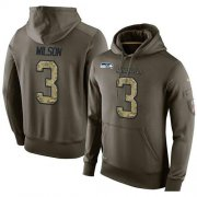 Wholesale Cheap NFL Men's Nike Seattle Seahawks #3 Russell Wilson Stitched Green Olive Salute To Service KO Performance Hoodie