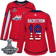 Wholesale Cheap Adidas Capitals #19 Nicklas Backstrom Red Home Authentic USA Flag Stanley Cup Final Champions Women's Stitched NHL Jersey