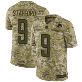 Wholesale Cheap Nike Lions #9 Matthew Stafford Camo Youth Stitched NFL Limited 2018 Salute to Service Jersey