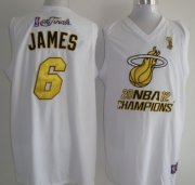 Wholesale Cheap Miami Heat #6 LeBron James 2012 NBA Finals Champions White With Gold Jersey