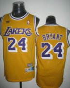 Wholesale Cheap Los Angeles Lakers #24 Kobe Bryant Yellow Swingman Throwback Jersey