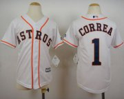 Wholesale Cheap Astros #1 Carlos Correa White Cool Base Stitched Youth MLB Jersey