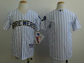 Wholesale Cheap Brewers Blank White(blue stripe) Cool Base Stitched Youth MLB Jersey