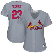 Wholesale Cheap Cardinals #23 Marcell Ozuna Grey Road Women's Stitched MLB Jersey