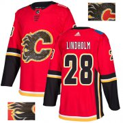 Wholesale Cheap Adidas Flames #28 Elias Lindholm Red Home Authentic Fashion Gold Stitched NHL Jersey