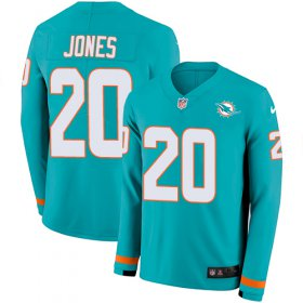 Wholesale Cheap Nike Dolphins #20 Reshad Jones Aqua Green Team Color Men\'s Stitched NFL Limited Therma Long Sleeve Jersey