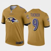 Wholesale Cheap Baltimore Ravens #9 Justin Tucker Gold Men's Nike Big Team Logo Vapor Limited NFL Jersey